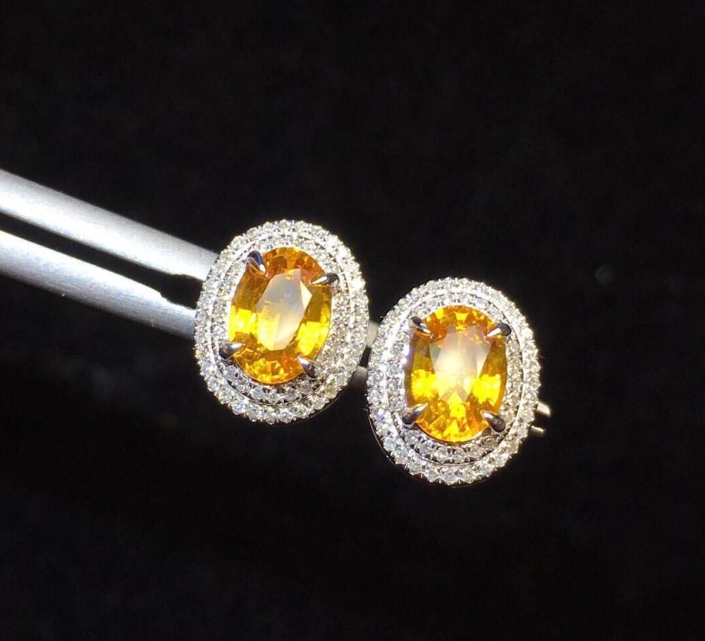 Boucles d'oreilles saphir bijoux en or 18 K pur saphir jaune naturel 1.82ct pierres précieuses diamants boucles d'oreilles pour femmes