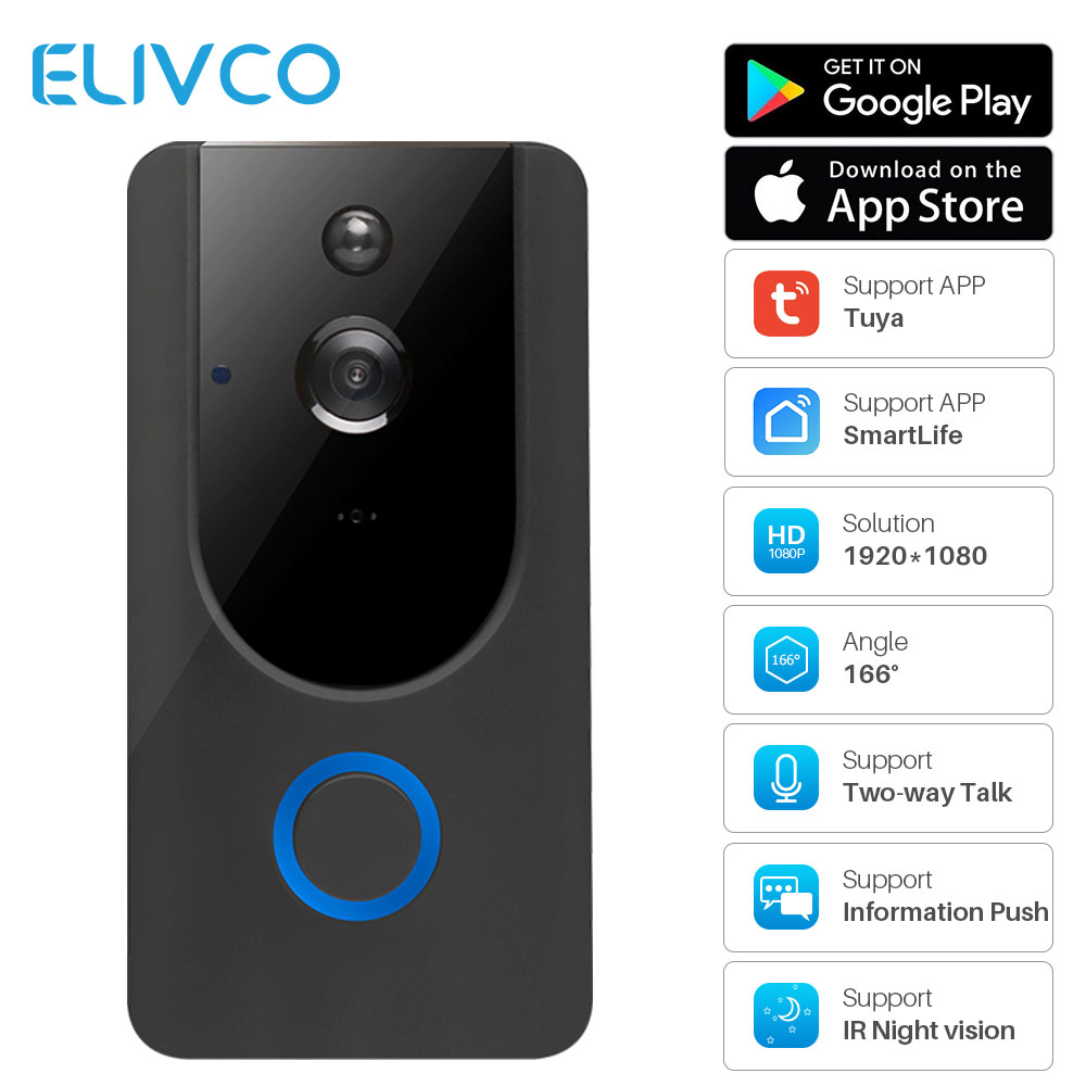 Tuya 1080P Smart Video Doorbell WiFi Wireless Video Intercom Door Bell Two-way Audio Remote Recording Home Security Monitor