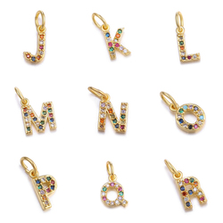 Juya 13*6mm A-Z Colorful Zircon Letter Charms DIY Small Initial Charms Pendant for Necklace&Bracelets Jewelry Making Supplies