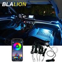 Luz ambiente de coche Led con retroiluminación de 12V, iluminación de cigarrillos con aplicación de Control de sonido, RGB, Color, Interior, decorativa