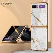 KISSCASE יוקרה שיש מקרה עבור Samsung Galaxy Z Flip מקרה קשה השיש זכוכית מגן כיסוי עבור Samsung Galaxy Z Flip עור