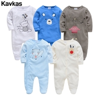 Kavkas 2020 5pcs 100% cotton cartoon pattern super cute and fresh baby boy climbing suit high quality baby clothing