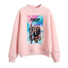 Pink stranger things hoodie streetwear harajuku graphic women's sweatshirt woman autumn winter hoodies cute oversize pullover недорого