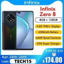Versão global infinix zero 8 x687 6.85 fffhd + 8gb 128gb 90hz helio g90t 64mp quad camera 4500mah 33w super carregador do telefone móvel