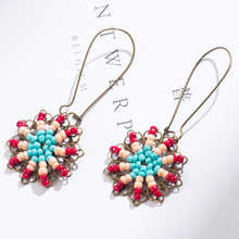 New Rice Beads Tassel Earrings Fashion Personality Small Fresh Sun Flowers Handmade Jewelry Girls Party Gifts