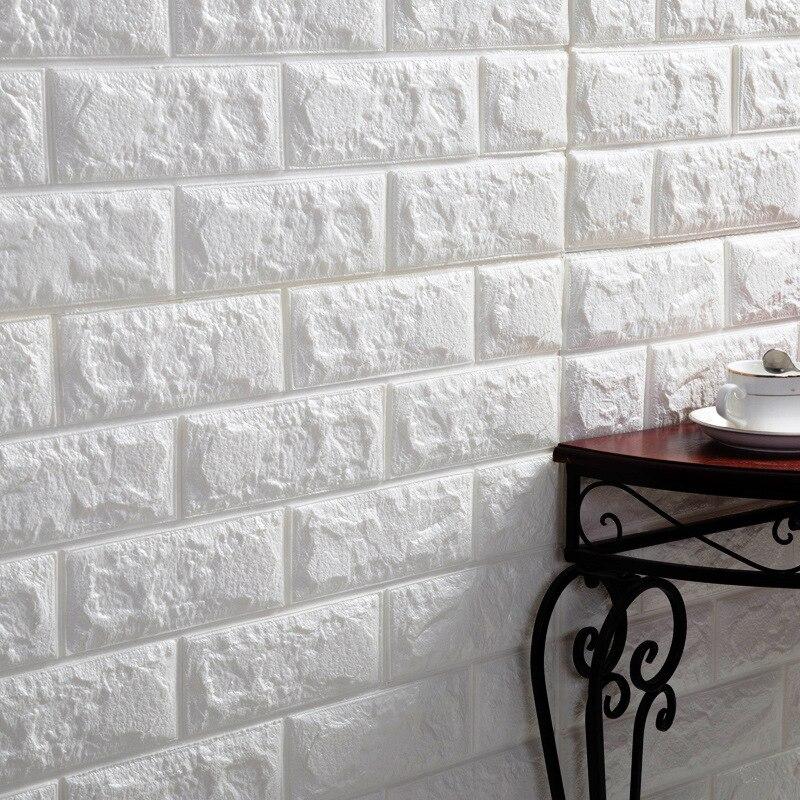 Brick Wall Stickers DIY 3D PE Foam Wallpaper Panels Room Decal Stone Decoration Embossed Self Adhensive 3D Brick Wall 70*77cm