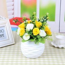 Artificial High Quality Silk Flower Bunch Rose  Table Pot Wedding Home Party Hot Sale