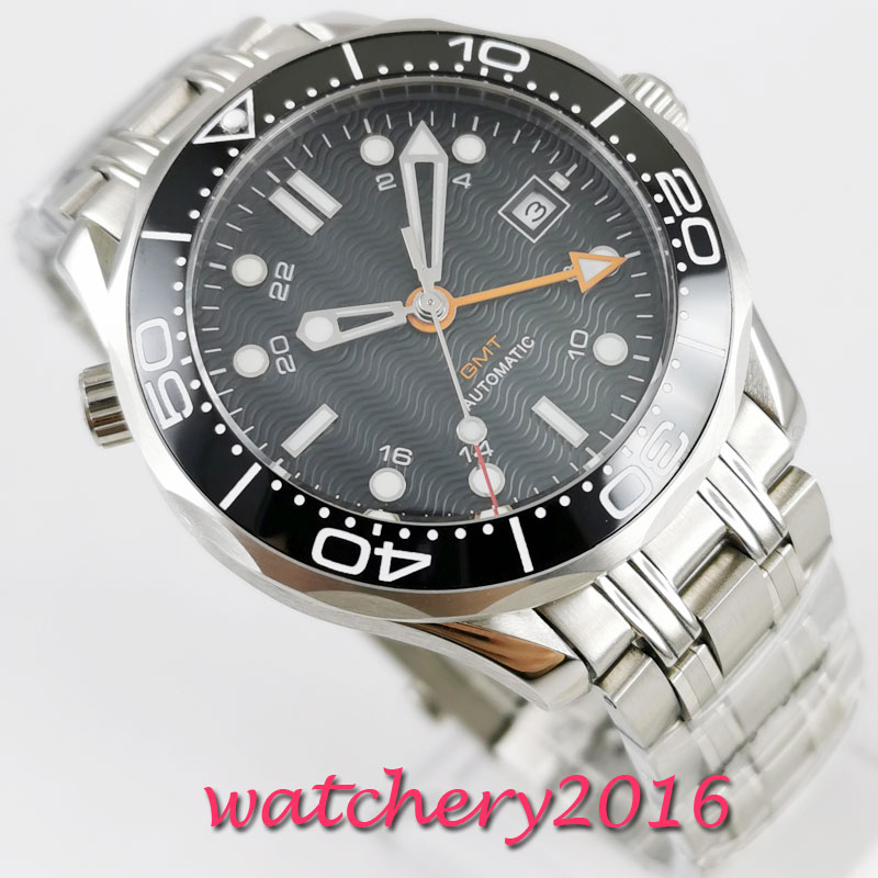 NEW 41mm Bliger Sterile Black Dial Rotating Ceramic Bezel Date steel Case Luminous Sapphire GMT Automatic