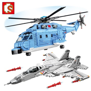 SEMBO Aircraft Plane Military Air Force Helicopter Model Building Blocks Technic Fighter Army Navy Aircraft City Police Bricks недорого