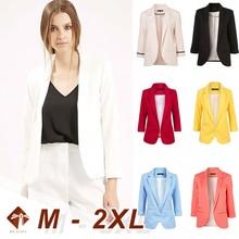 Outwear Womens Slim Casual Blazer with Elegant Three Quarter Sleeve Notched Jacket Coat 2021 Spring Plus Size Solid Work Blazer