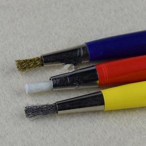 Image 4 - 3 יח\חבילה מברשת עטי זכוכית סיבים/פליז/פלדה מברשת מדבקת עט צורת שעון חלקי פולני וחלודה נקי הסרת כלי KYY9001