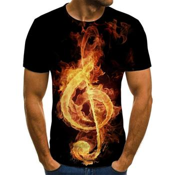 2020 new T-shirt men's music symbol 3d guitar shirt printed Gothic anime clothing short-sleeved 110-6XL - discount item  40% OFF Tops & Tees