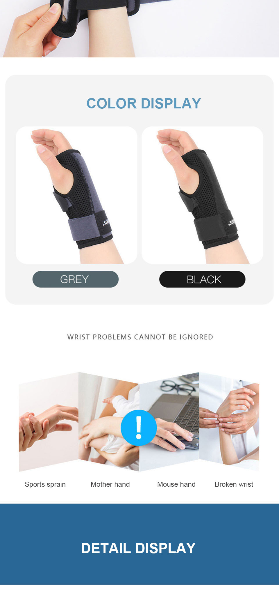 Adjustable Wrist Fitted Stabilizer Splint Carpal Tunnel Hand Compression Support