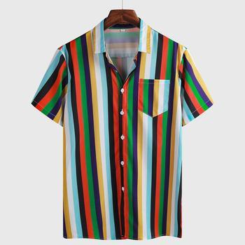 Hawaiian Shirt Mens Summer Ethnic Short Sleeve Shirt Casual Striped Printing Shirt Tops streetwear Blouse camisa masculina 2