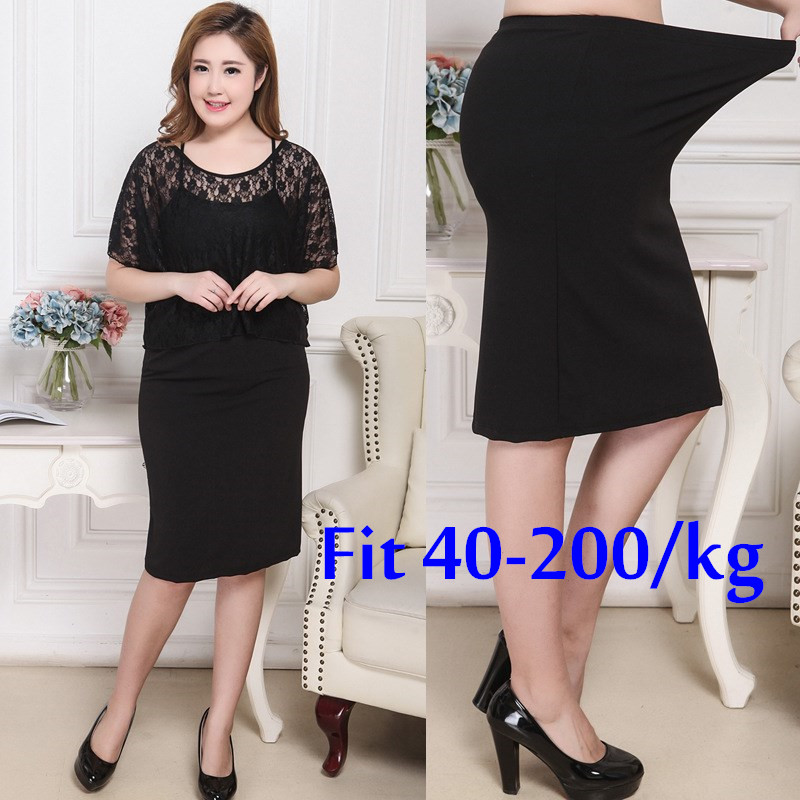 Women Spring Summer Slim Step Bodycon Skirt OL Lady Plus Size High Waist Hip Package Skirt Black 8XL