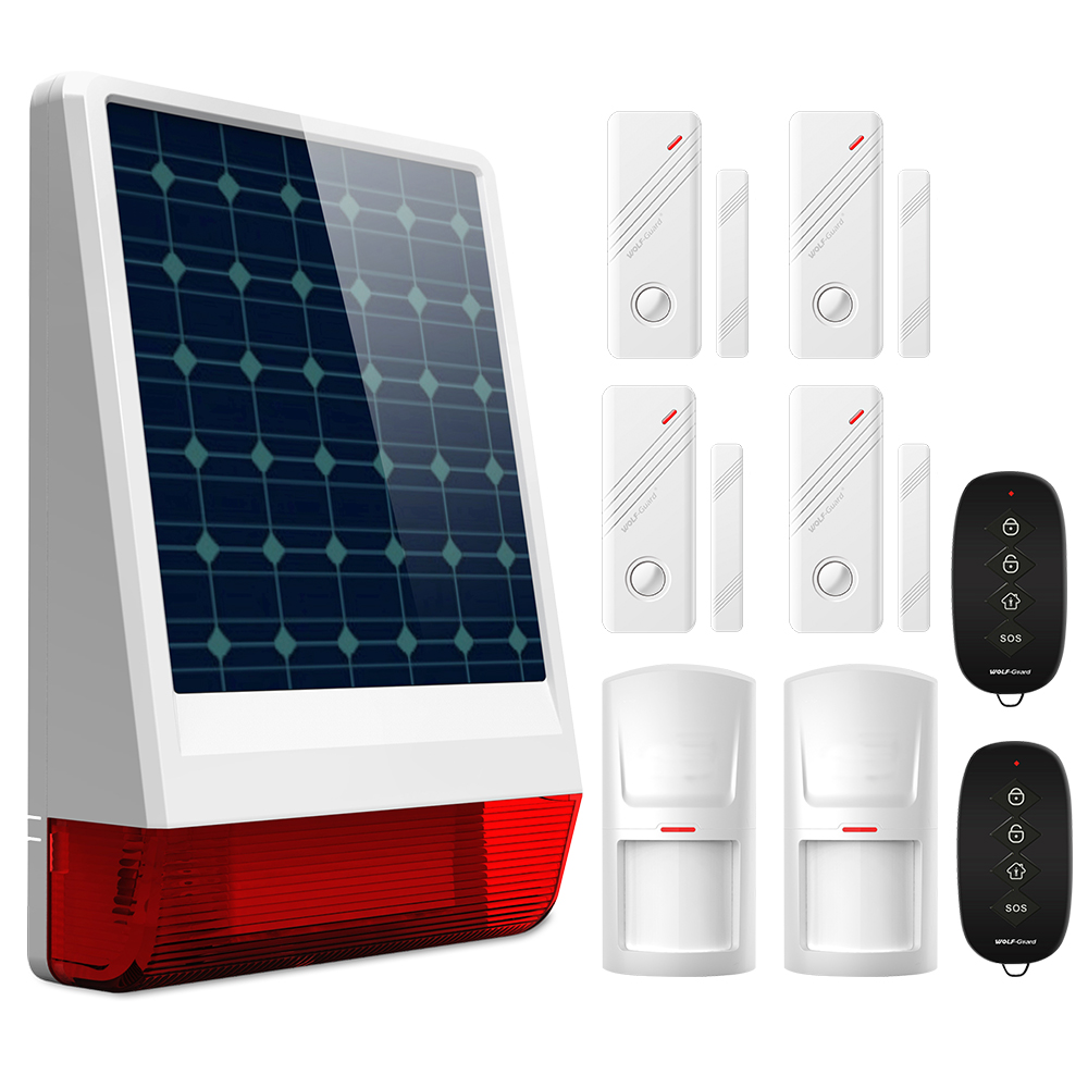 Wolf-Guard <font><b>Wireless</b></font> Outdoor Weather-Proof GSM SMS Solar Siren House Security <font><b>Alarm</b></font> <font><b>Burglar</b></font> <font><b>System</b></font> PIR Motion Door Sensor image