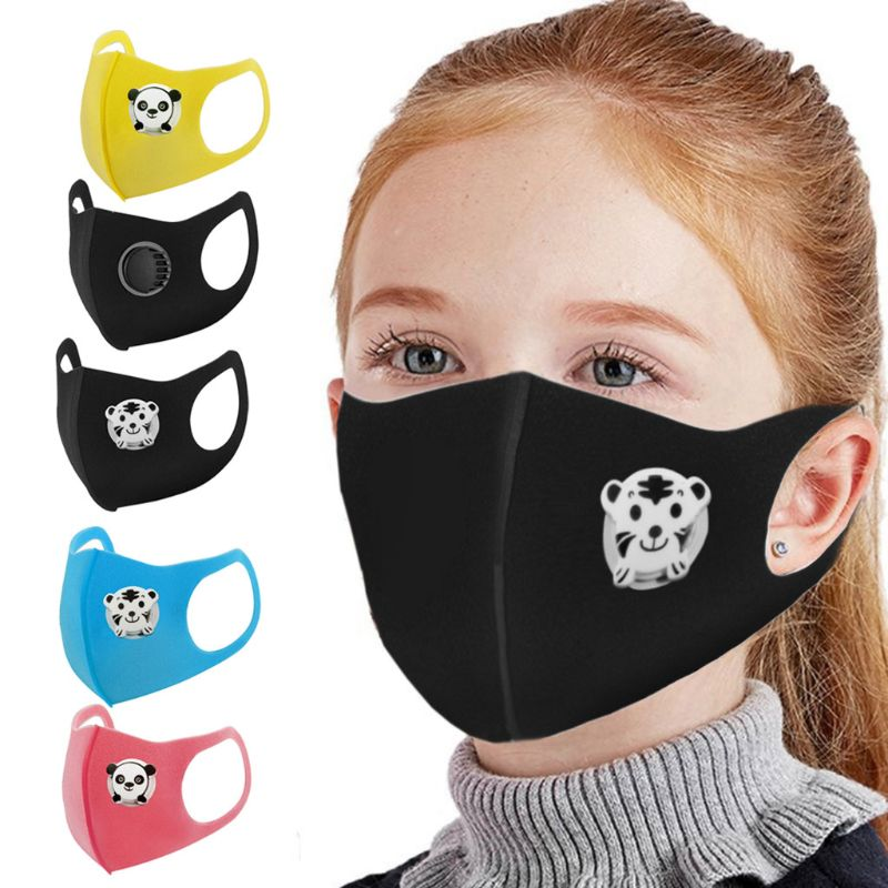 3 Pcs Children Masks With Breathing Valve Washable Shield Dust Protective Air Purifying Comfortable Dustproof Face Mouth Mask