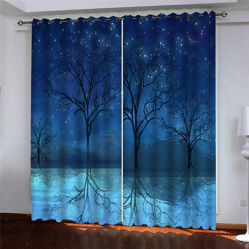Blackout Living Room Bedroom Curtains Tree Branch Drapes Cortinas Blue Kids Room Curtain Custom Any Size