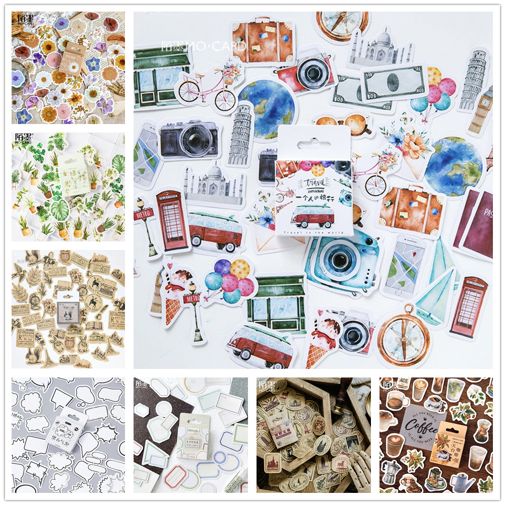 (42 Styles) Vintage Letters Boxed Washi Stickers DIY Scrapbooking Paper Diary Planner Wedding Album Sealing Decoration @TZ