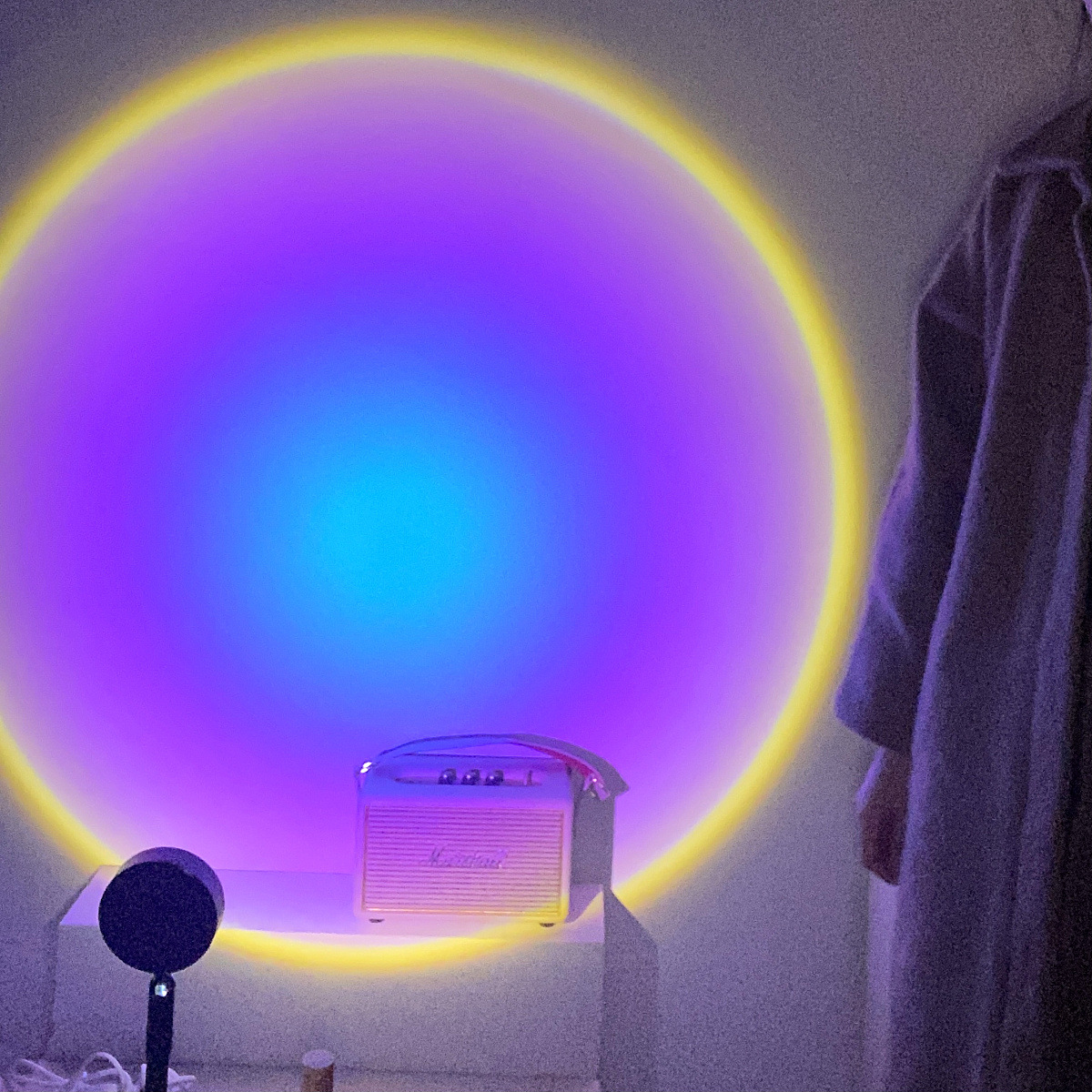 2021 USB Button Rainbow Sunset Projector Atmosphere Led Night Light Home Coffe Shop Background Wall Decoration Colorful Lamp