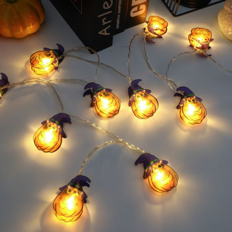 LED String Purple Hat Fairy Garland String Lights Battery Operated Halloween Garden Home Christmas Tree Decoration Lighting D08F