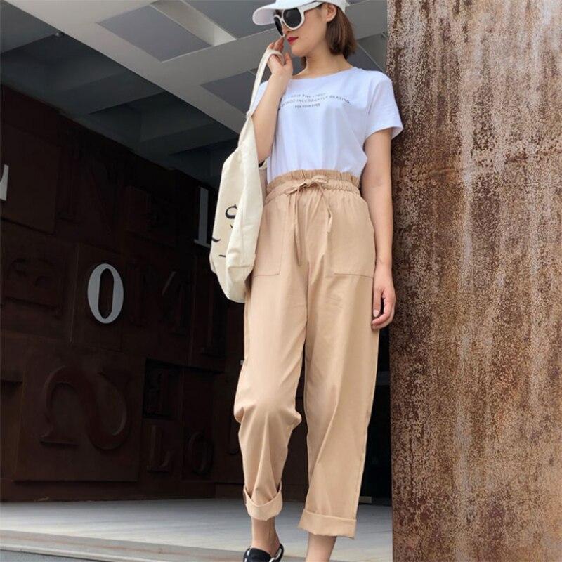 Women Loose Cotton Linen Pants Soft Harem Pants Breathable Slim Length Pants Hallen Pants High Waist Leisure Pants
