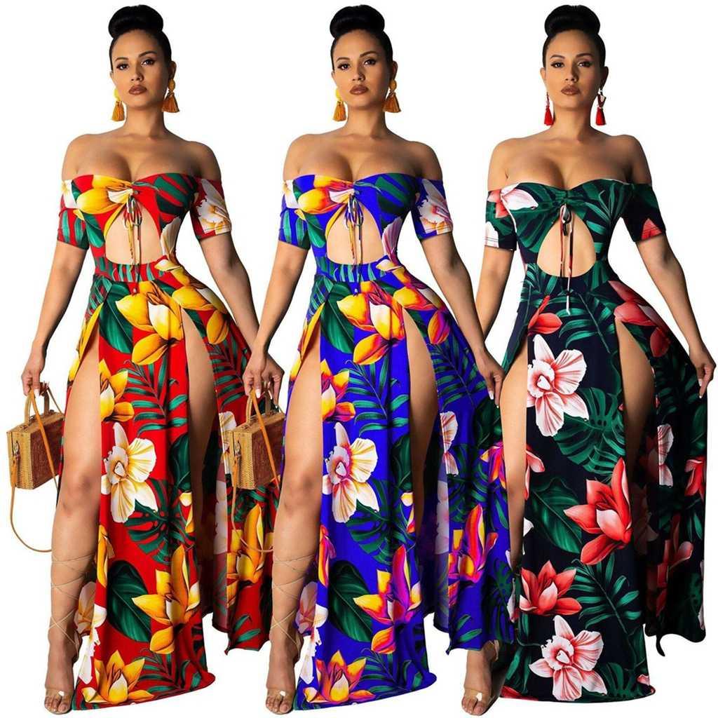 Летняя Праздничная Женская одежда в винтажном стиле, платье с v-образным вырезом и открытыми плечами, туника с коротким рукавом, цветочный принт, высокий раздельный сарафан, пляжная одежда