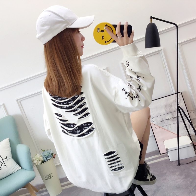 2019 autumn new Korean version of the XL T-shirt women's thin section long-sleeved loose hole wild T-shirt shirt women 79