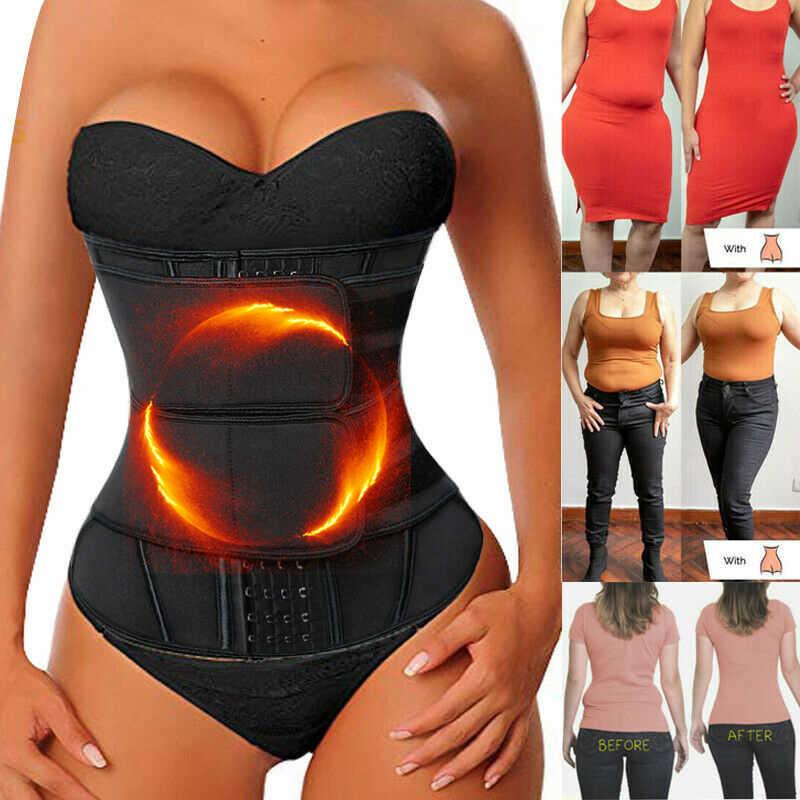 Black Waist Trainer Corset Cincher Sauna Sweat Faja Sport Girdle Slimming Shaper Abdominal Trimmer Belt Straps,S