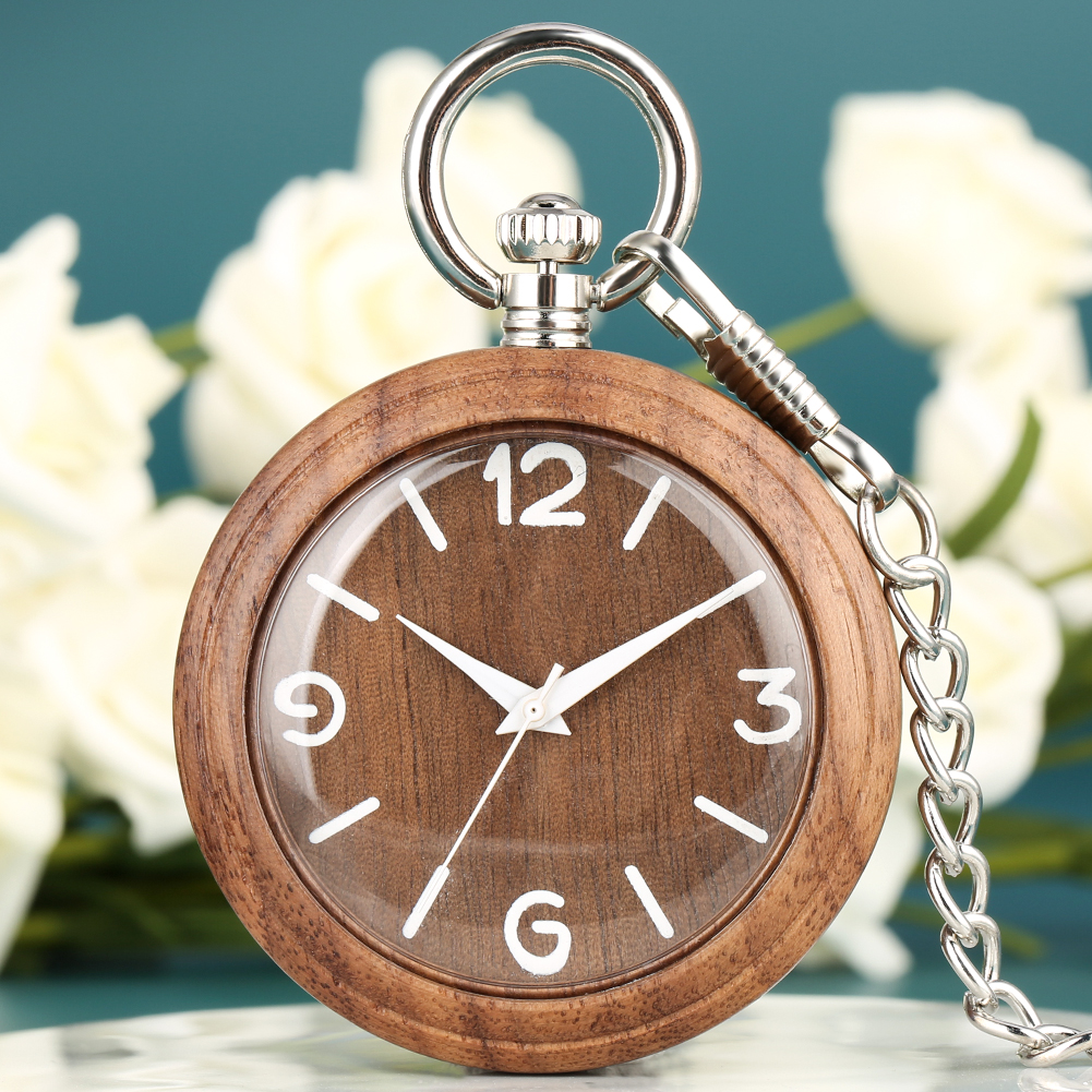 Natural Walnut Wooden Pocket Watch Arabic Numerals Quartz Pocket Watches Vintage Silver Rough Chain Necklace Pendant Clock Gifts