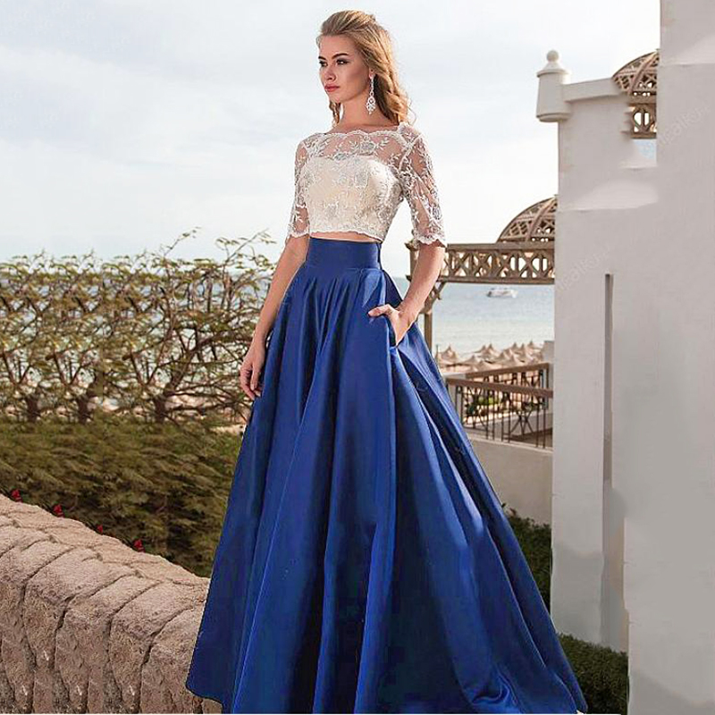 Elegant Two-piece Prom Dresses Satin Long Royal Blue A-Line Backless Long Evening Dress Prom Gowns With Pockets Custom Made