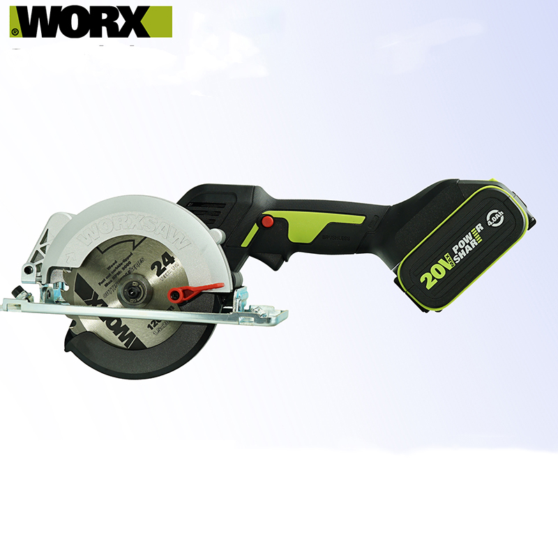 Worx Professional Tool WU533 Brushless Motor 115MM Cordless Circular Saw  45  90 Degree cutting Powershar Battery