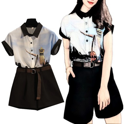Large Size Dress Fat Mm Printed Lapel Shirt Tops Women's Loose Pants Shorts Two-Piece Set 2019 Summer New Style