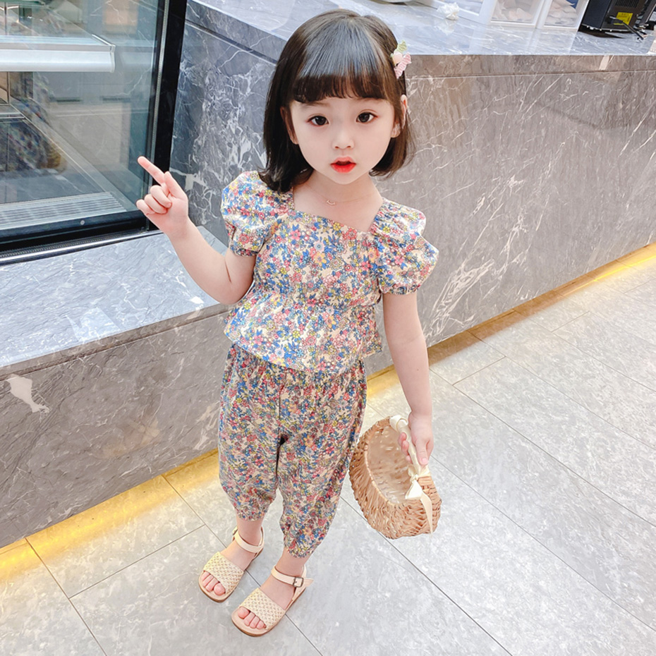 Children Clothes Floral Tshirt + Pants For Girls Casual Style Big Girls Clothes Summer Kids Tracksuit