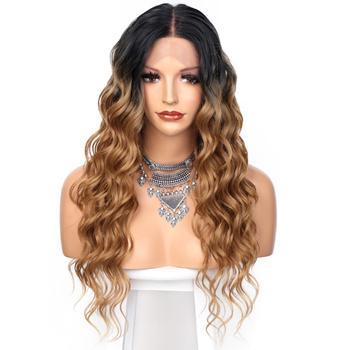 AISI QUEENS koronki przodu peruki syntetyczne blond Ombre długie faliste Mid Point peruki syntetyczne dla kobiet naturalną linią włosów pełne peruki tanie i dobre opinie CHINA Średnia wielkość Jasny brąz Swiss koronki