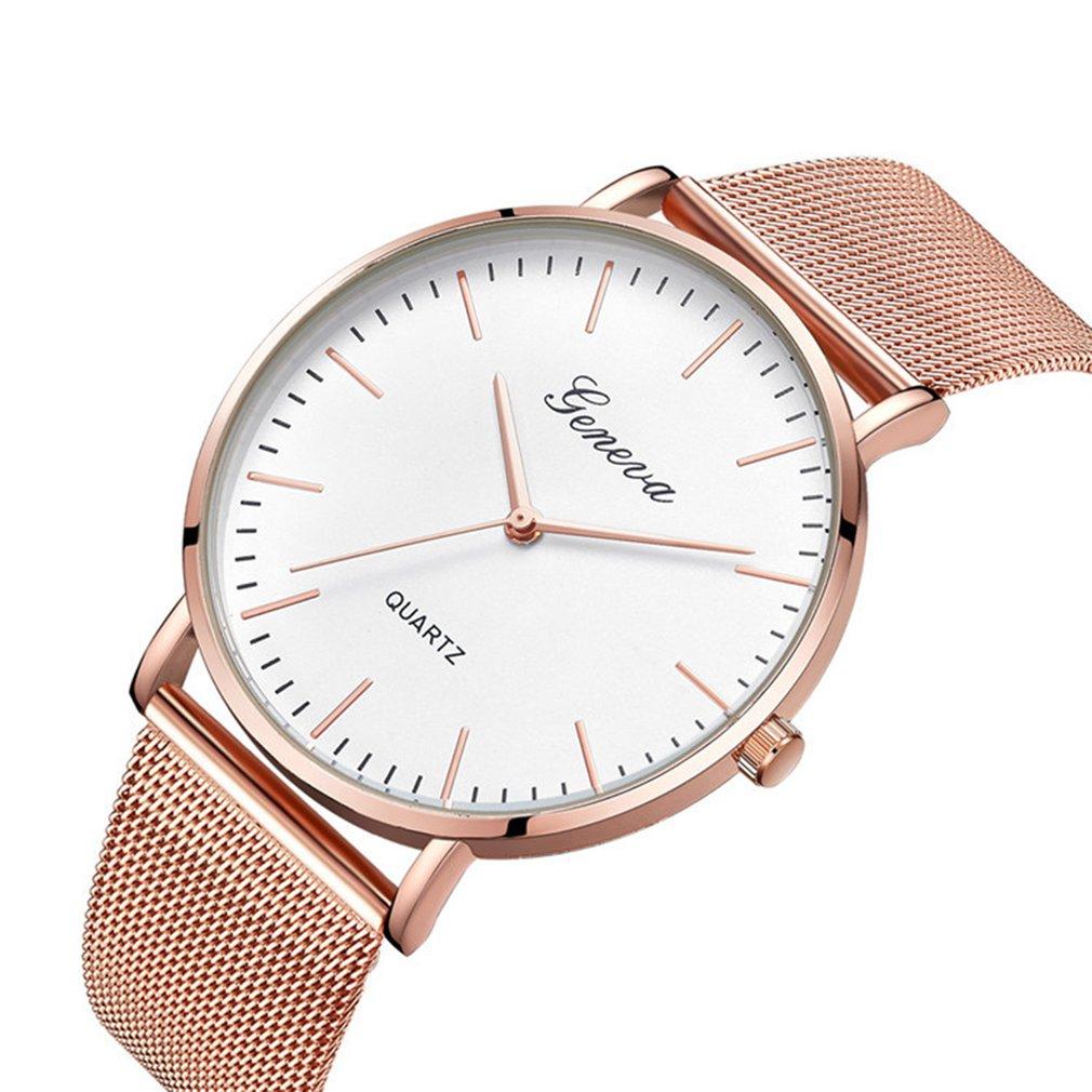 Fashion Ladies Wristwatch Stainless Steel Mesh Strap Quartz Watch Simple Casual Wristwatch Exquisite Wristwatch