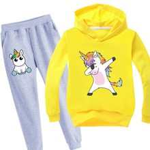 Kids Tracksuit Boys Clothes Set Unicorn Hoodies and Pants Teenage Sportwear Clothing Sport Suit for Girl Autumn Christmas Outfit(China)