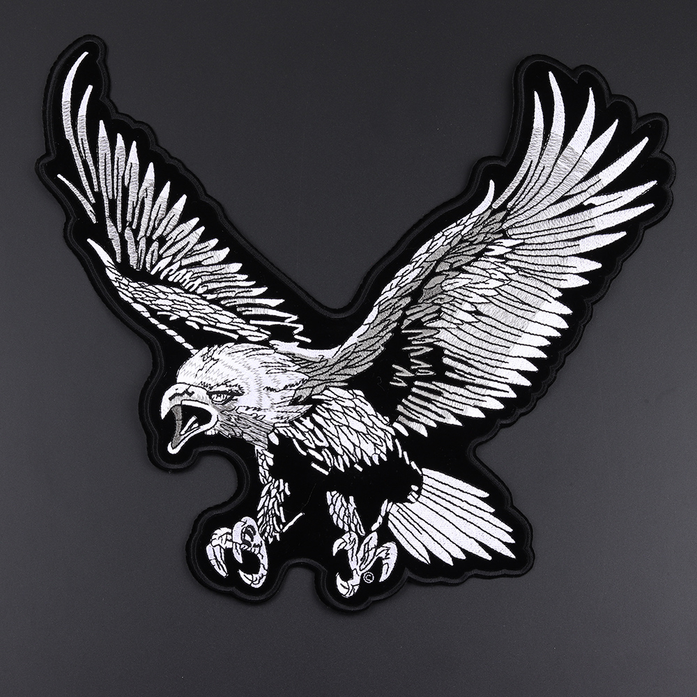 Large eagle embroidery <font><b>patches</b></font> cowboy motorcycle <font><b>coat</b></font> motorcycle rock DIY decoration badge high quality sticker iron on clothes image