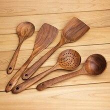 Деревянные ложки LUDA, деревянные ложки для приготовления пищи, набор многоразовых деревянных кухонных принадлежностей из 5 предметов, инструменты для приготовления антипригарной посуды