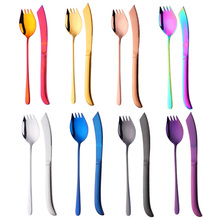 Newest Dinnerware Set 8 Color 18/8 Stainless Steel Black Rainbow Cutlery Gold Fork S poon Knives Kitchen Food Christmas Gift