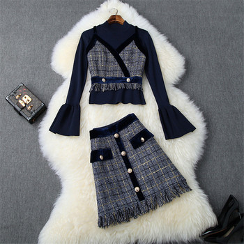 Brand New Fashion Fall Winter Skirts Suit Set Women 2019 Flare Sleeve Knit Top Plaid Tassel Tweed Woolen Skirt 3Pcs Clothes Set