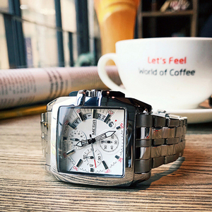Image 3 - MEGIR erkekler büyük arama moda iş Analog kuvars kol saati paslanmaz çelik kayış spor saatler saat erkek Relogio Masculino