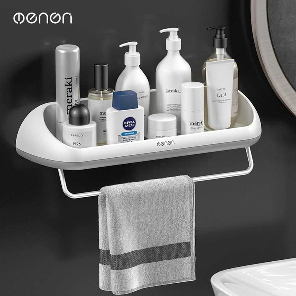 Hot Shampoo Cosmetic Shower Shelf Wall Mounted Punch-free Bathroom Shelf Kitchen Storage Rack Towel Bar Bathroom Acccessories