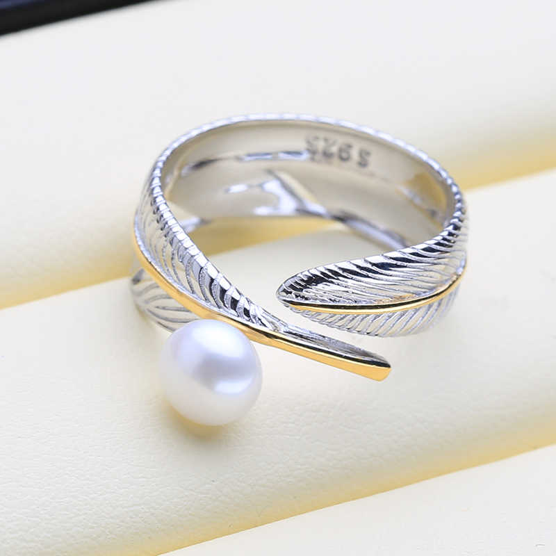 FENASY อินเทรนด์ที่กำหนดเอง Gothic 925 Sterling Silver และ GOLD สีแหวนไข่มุกแท้ไข่มุกน้ำจืดธรรมชาติแหวนผู้หญิง