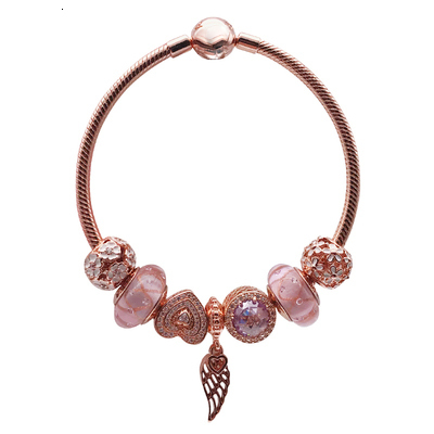 Latest Product high quality 1:1 100% 925 silver sterling pink gold angel wing charter bracelet free