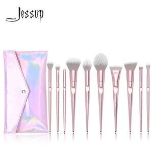 Image 1 - Jessup ensemble pinceaux de maquillage ensemble 10 pièces métallique rose beauté maquillage brosse doux blush poudre fond de teint fard à paupières brosse ABS poignée