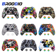 цена на Anti-slip Silicone Camo Protective Skin Case For Microsoft Xbox 360 For XBox One X S Gamepad Controller Protection Joystick Caps