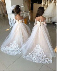 Long Sleeve Illusion Puffy Lace Lovely Wholesale Flower Girl Dress