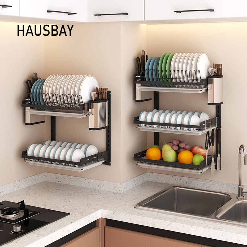Punch-free Kitchen Rack DIY Wall Hanging Black Stainless Steel Dish Holder Bowl Knife Fork Storage Rack Organizer Tool 08175 image