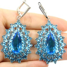 Elegant Rich Blue Aquamarine, White CZ Ladies Wedding 925 Silver Earrings 27x8mm
